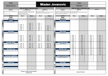 strength training template excel