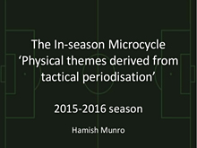 Planning The In-season Microcycle In Soccer Part 8: Hamish Munro Case Study