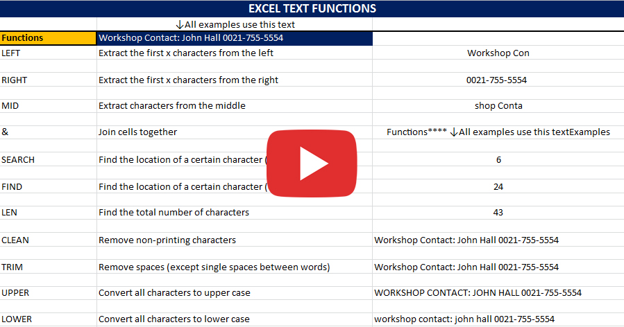 Excel Text Functions with John Lythe - Complementary Training